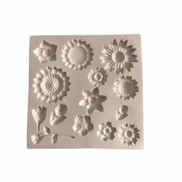 Molde Silicone Flores Diversas - 1218