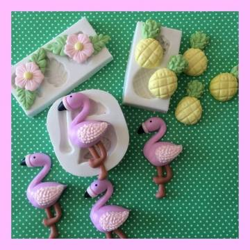 MOLDE SILICONE CONFEITARIA E BISCUIT KIT FLAMINGO E FESTA TROPICAL PM309